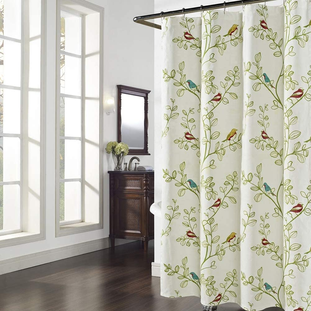 DS CURTAIN Maria Green Waterproof Polyester Fabric Shower Curtain,Printed Floral Bathroom Curtain,Plants Shower Curtain for Bathroom