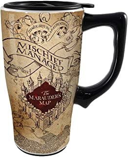 Harry Potter Mischief Managed Ceramic Travel Mug - 14 Ounce w/Sipping Lid