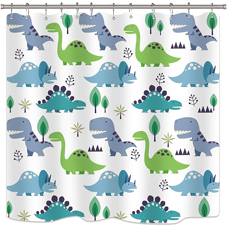 Riyidecor Cartoon Dinosaur Kids Shower Curtain Green Leaf Tree Bathroom Decor Fabric Bathroom Set Polyester Waterproof 72 x 72 Inches with 12-Pack Plastic Shower Hooks