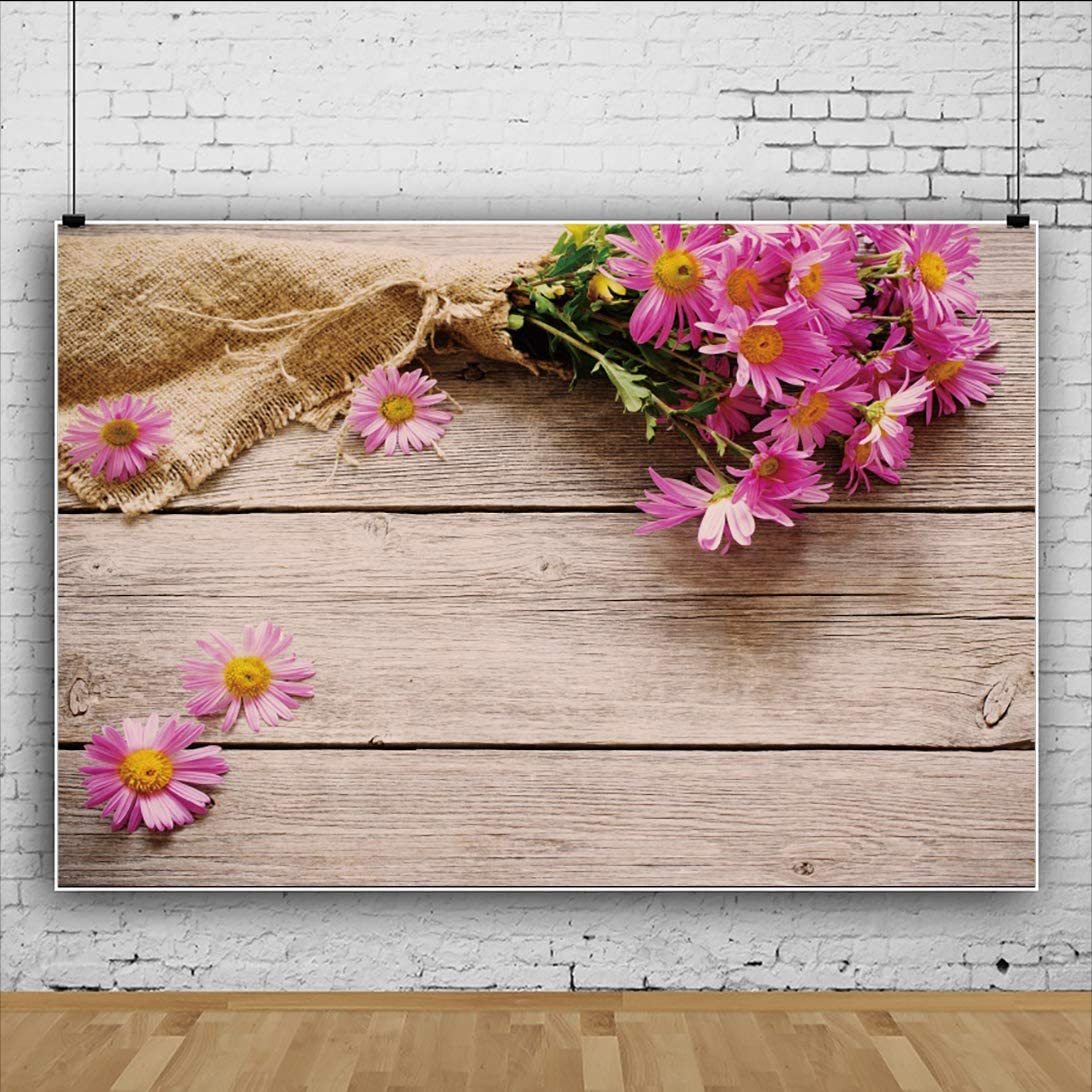 DORCEV 6x4ft Rustic Wood Pink Flowers Backdrop Romantic Love Wedding Ceremony Background for Photography Vintage Wooden Floor Valentines Day Party Art Portraits Photo Studio Props