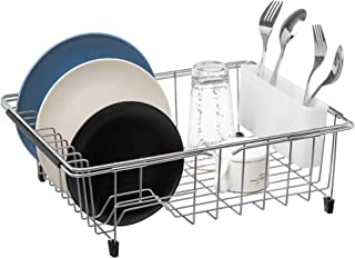 Slideep Expandable Dish Drying Rack, 304 Stainless Steel Over the Sink Dish Rack, in Sink or On Counter Dish Drainer with removable Utensil Holder White