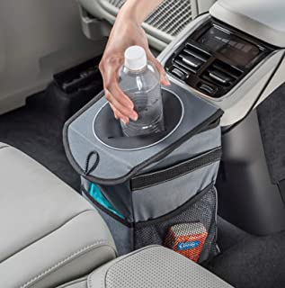 High Road StashAway Console Car Trash Can with Lid (Gray)