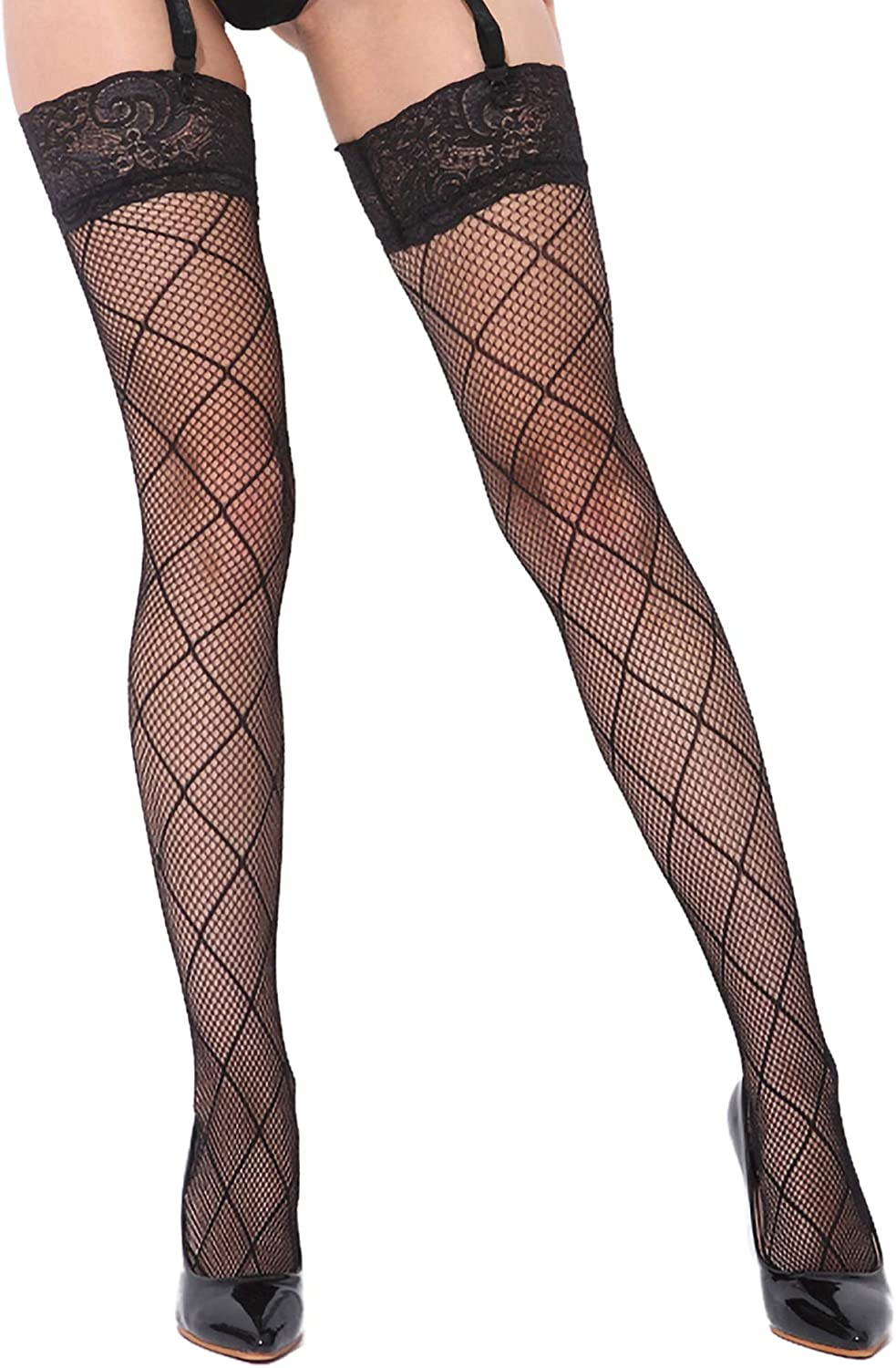 Women's Black Lace Top Sexy Fishnet Thigh High Stockings