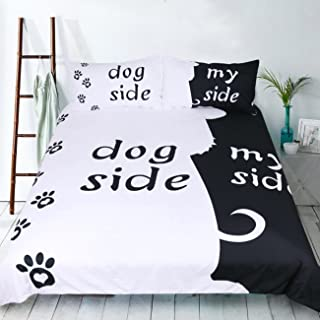 S Hotel Collection Dog Side/My Side 3D White Black Duvet Cover Set, 3-Piece Quilt Cover Set-Extremely Soft & Durable
