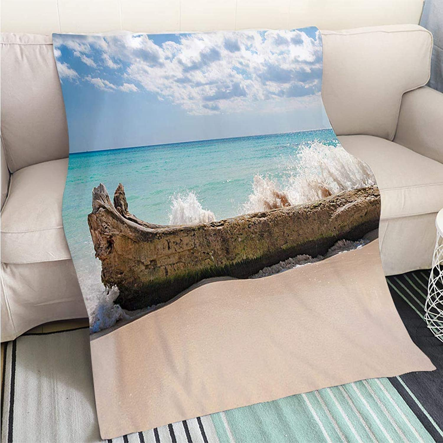 BEICICI Super Soft Flannel Thicken Blanket Splashing Water Over a Tree Trunk at The Beach Sofa Bed or Bed 3D Printing Cool Quilt