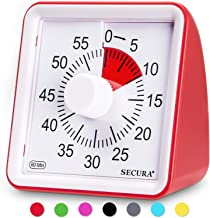 Secura 60-Minute Visual Timer, Classroom Countdown Clock, Silent Timer for Kids and Adults, Time Management Tool for Teach...