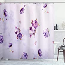 Ambesonne Roses Decorations Collection, Floral Pattern with Mauve Roses in Purple Color Dreamy Clouds Retro Soft Pale Art, Polyester Fabric Bathroom Shower Curtain Set with Hooks, Lilac Violet