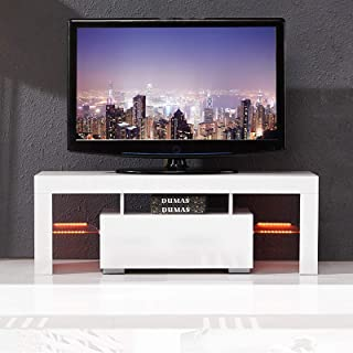 mecor Modern White TV Stand with LED Light, 51 Inch High Gloss LED TV Stand with Drawer Console Table for Living Room
