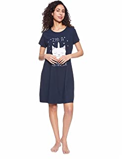 GIT Cat Print Short Sleeves Round Neck Nightshirt for Women M