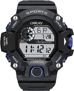 ساعة معصم رياضية رقمية للرجال للرجال، شاشة خلفية LED ذات وجه كبير مضادة للماء ساعة إيقاف إنذار عادية مضيئة للساعات الإلكتر...