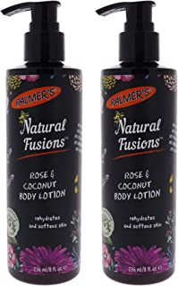 Natural Fusions Rose and Coconut Hand and Body Lotion by Palmers for Unisex - 8 oz Body Lotion - (Pack of 2)