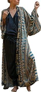 L-Peach Cárdigan Largo Caftán Kimono para Mujer Bohemio Ropa de Salón Vestido de Playa de Gran Tamaño
