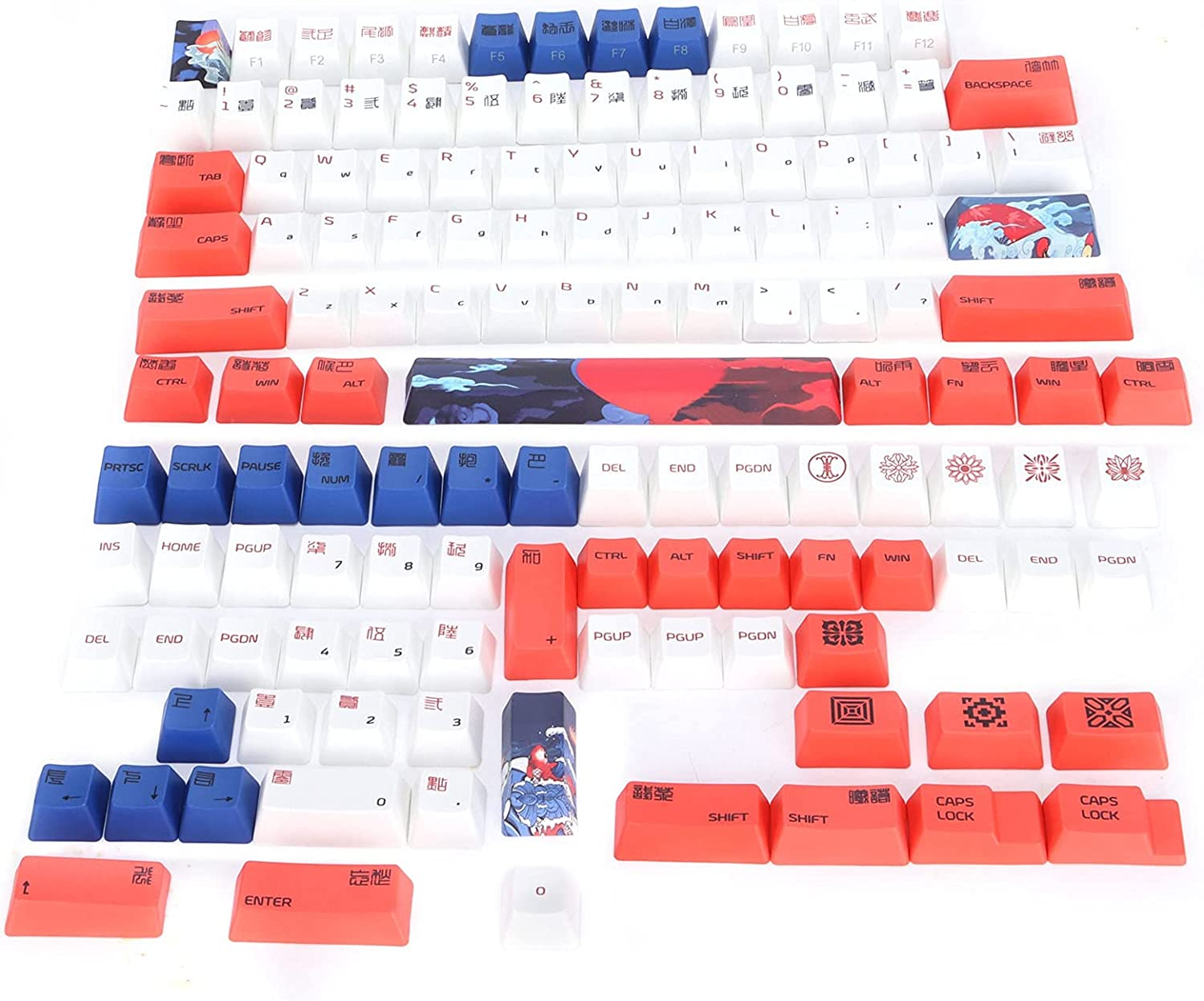 PBT Keycaps 134 Key English with Max Long Beach Mall 85% OFF Style Pattern Animal Elements