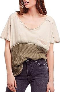 9ddd3fcfab537 Free People Womens Sun Dial Linen Blend Dip Dye T-Shirt
