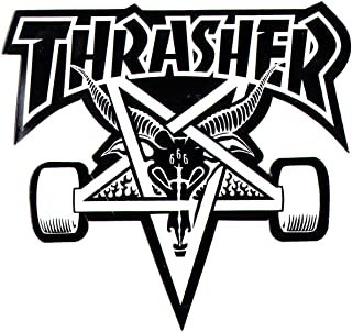 Thrasher Magazine Skate Goat Pentagram Skateboard Sticker 9 x 10cm Black/White