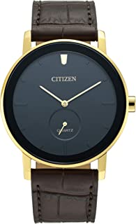 Citizen Mens Quartz Watch, Analog Display and Leather Strap - BE9182-06E