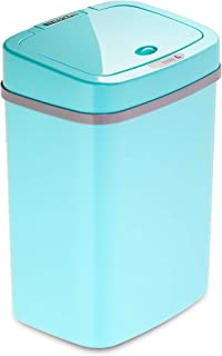 Ninestars, Teal Blue DZT-12-5TB Bedroom or Bathroom Automatic Touchless Infrared Motion Sensor Trash Can, 3 Gal 12 L, ABS Plastic (Rectangular, Trashcan