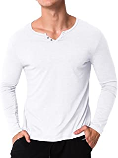 MODCHOK Men's Long Sleeve T Shirt Tee Cotton V Neck Henley Shirts Undershirt Slim Fit Tops