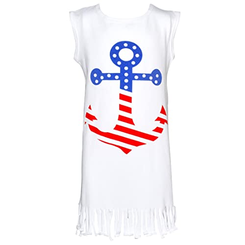 53f04020bae Unique Baby Girls Sleeveless Patriotic 4th of July Anchor Dress White