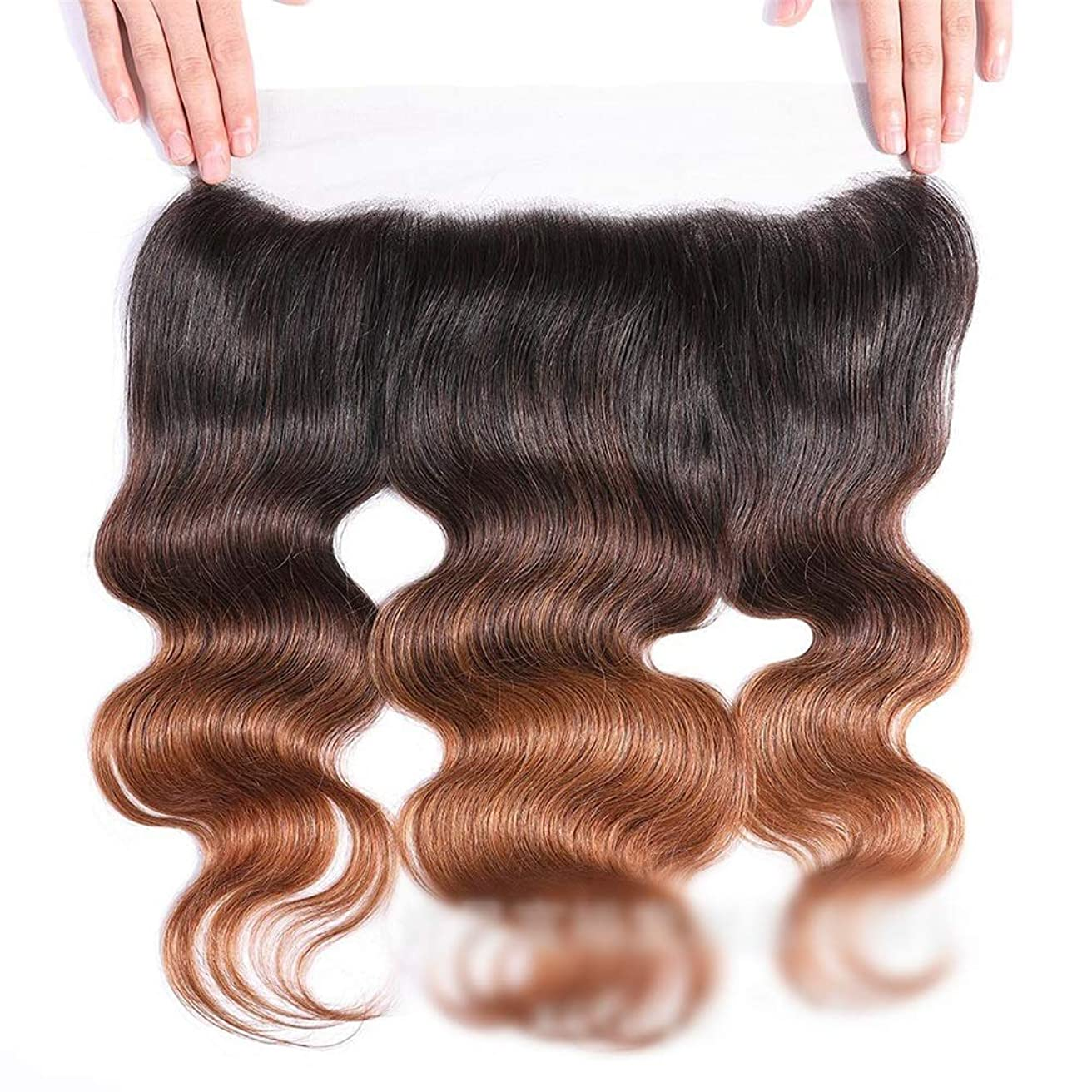 サイレン露出度の高いレザーHOHYLLYA 13x4レースの閉鎖ブラジルの実体波人間の髪の毛の自由な部分ブラウンナチュラル探して茶色のかつら長い巻き毛のかつら、 (色 : ブラウン, サイズ : 16 inch)