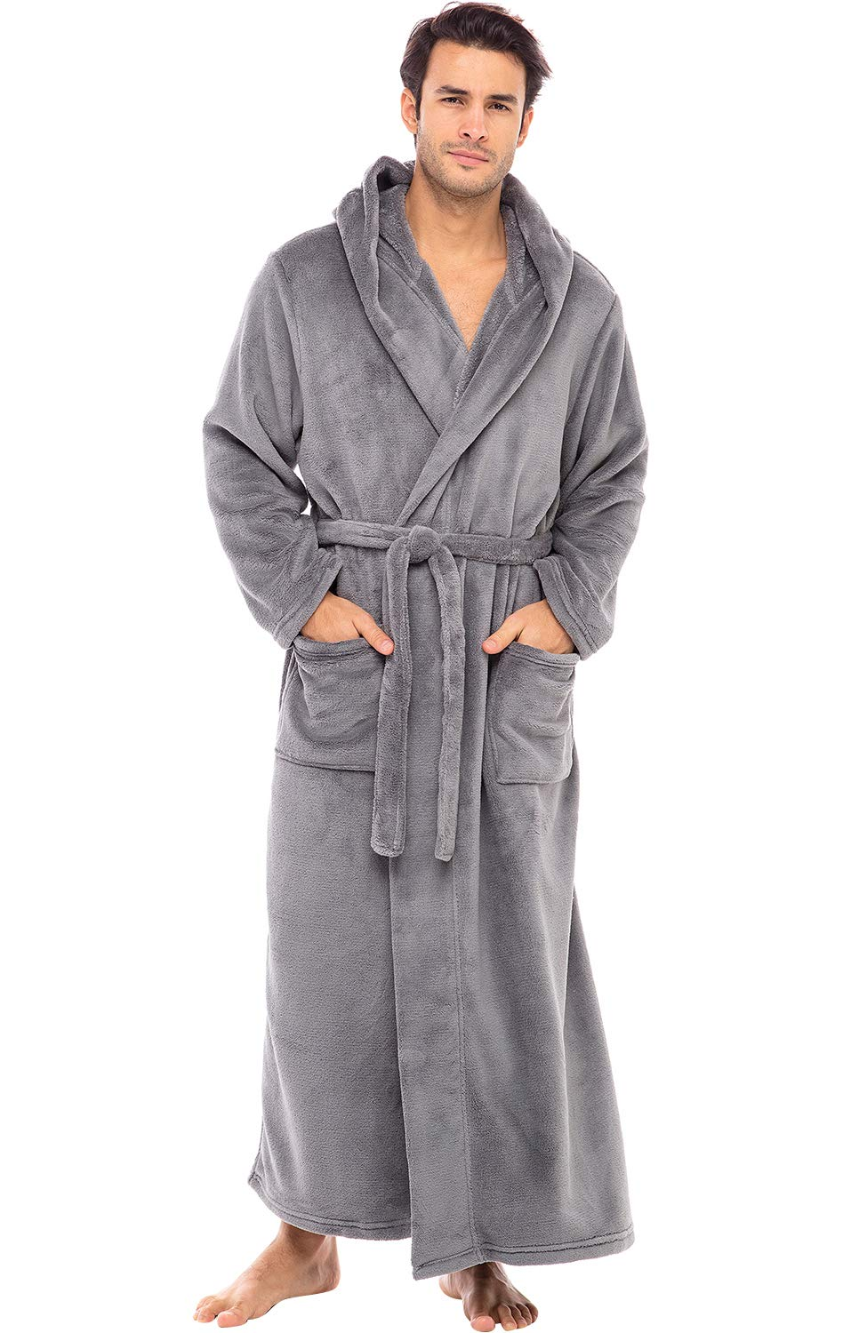 Image of Full Length Hooded Flannel Bath Robes for Men - See More Colors