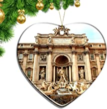 Hqiyaols Ornament Italy Trevi Fountain Rome Christmas Ornaments Ceramic Sheet Souvenir City Travel Pendant Gift Tree Door Window Ceiling Decoration Collection