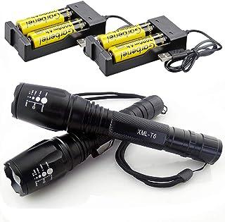 حزمة مصابيح LED تكتيكية T6 عدد 2 مضادة للماء وقابلة للتكبير ذات 5 أوضاع مع بطاريات 18650 القابلة لإعادة الشحن