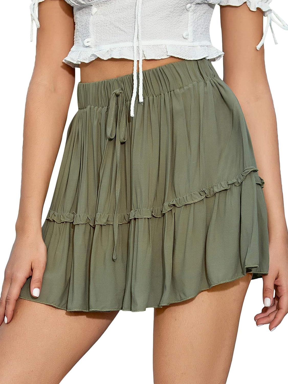 Milumia Women Ruffle Hem High Waisted Mini Skirt Tie Front Flared Swing Tiered Skirt
