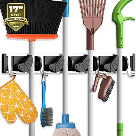 Mop Broom Holder Wall Mount Metal Pantry Organization and Storage Garden Kitchen Tool Organizer Wall Hanger for Home Goods Black Broom Holder
