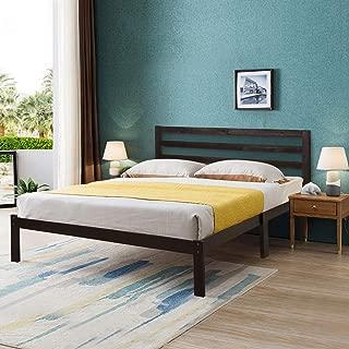 Giantex Modern Wood Platform Bed Frame w/Headboard, Mattress Foundation Queen 8-Bar Slat Better Support, Box Spring Optional, Multipurpose Bed Base for Bedroom, Dorm, Hotel, Antique Espresso Finish