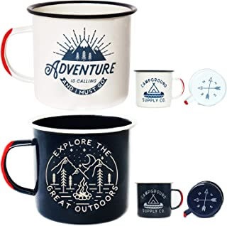 Adventure Enamel Camping Mug – 2 Pack Large 16oz of Love, Morning Coffee Mug..