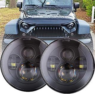 DOT Approved 90W 7 Inch Round LED Headlight High Low Beam for Jeep Wrangler 97-2017 JK TJ LJ JKU Rubicon Sahara Hummer H1 H2 Toyota Land Cruiser Dodge Dakota 2 PCS Black