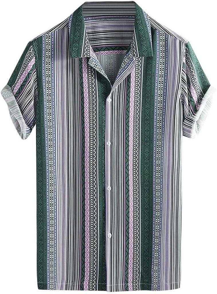 MODOQO Men's Tropical Hawaiian Shirt Casual Loose Stripe Short Sleeve Stand Neck Tees