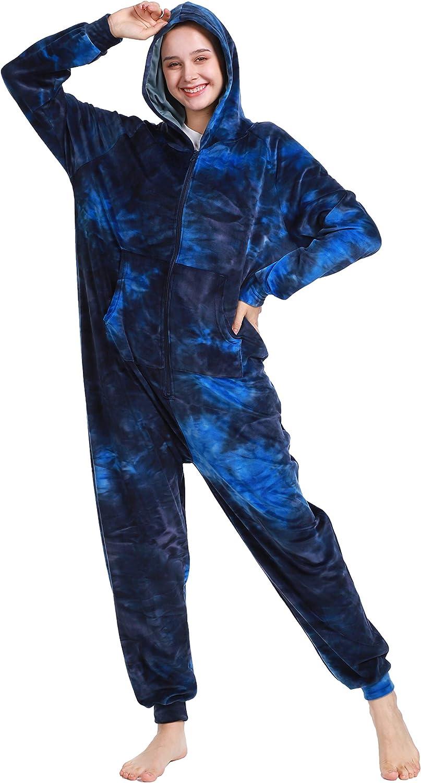 Lifeye Adult Jumpsuit Pajamas Hoodie Homewear Romper Sleepwear Tie Dye Costume for Women Men: Clothing