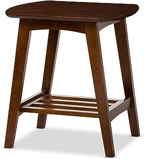 Baxton Studio Sacramento Mid-Century Modern Scandinavian Style End Table, Dark Walnut