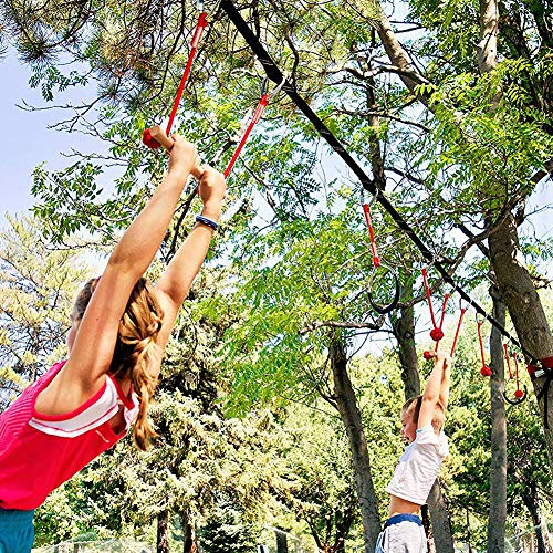 Staunchow Ninja Warrior Hinderniskurs für Kinder, Dschungel Gym Monkey Bars Kit, Ninja Warrior Junior Trainingsgerät, Kids Fun Slackline Outdoor Kinder Sportausrüstung