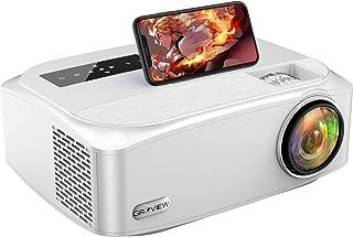 プロジェクター GROVIEW 8000lm 5GWiFi スマホ直接接続 リアル1080PフルHD 4K対応 内蔵スピーカー ズーム機能 ビジネス適用 ホームシアター HDMI/USB/SD/AV/VGA搭載 スマホ/パソコン/タブレットiP...