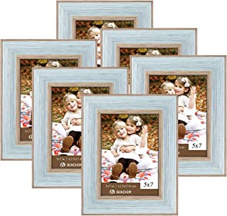 BOICHEN 5x7 Picture Frames Photo Display for Tabletop Display Wall Mount Rustic Style Wood Pattern High Definition Glass Blue Gray Photo Frames 6 Pack