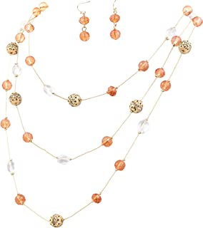 New Beautiful Fashion 3 Layer Handmade Beads Necklace Earring Set Long Illusion Necklace for Women