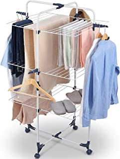 キングラック 洗濯物干し 室内物干し 多機能 スタンド コンパクト収納 キャスター付き 簡単組立 折りたたみ 約4人用 幅71cm 116201H