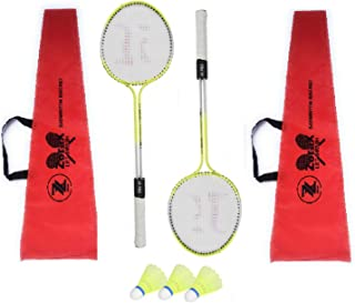 ZoraX Multicolor Double Shaft Iron Body Badminton Racket Pack of 1 Pair Badminton, 2 Piece Cover with 3 Piece Plastic Shuttle