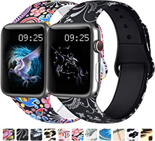 [2 Pack] Floral Bands Compatible with Apple Watch Band, Soft Silicone Fadeless Pattern Printed Replacement Sport Wristband for iWatch Series 5/4/3/2/1 (Colorful Jellyfish/Floral Silver, 38mm/40mm-M/L)