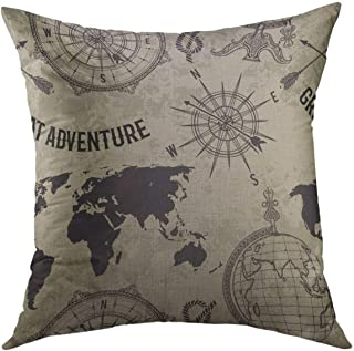 Mugod Decorative Throw Pillow Cover for Couch Sofa,Vintage Globe Compass World Map Wind Rose Retro Great Adventure in Sket...