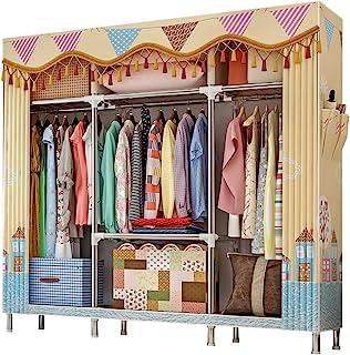 ZZBIQS Penderie extra large en tissu avec compartiments et 2 poches latérales, Garde-Robe Penderie en textile pour vêtemen...