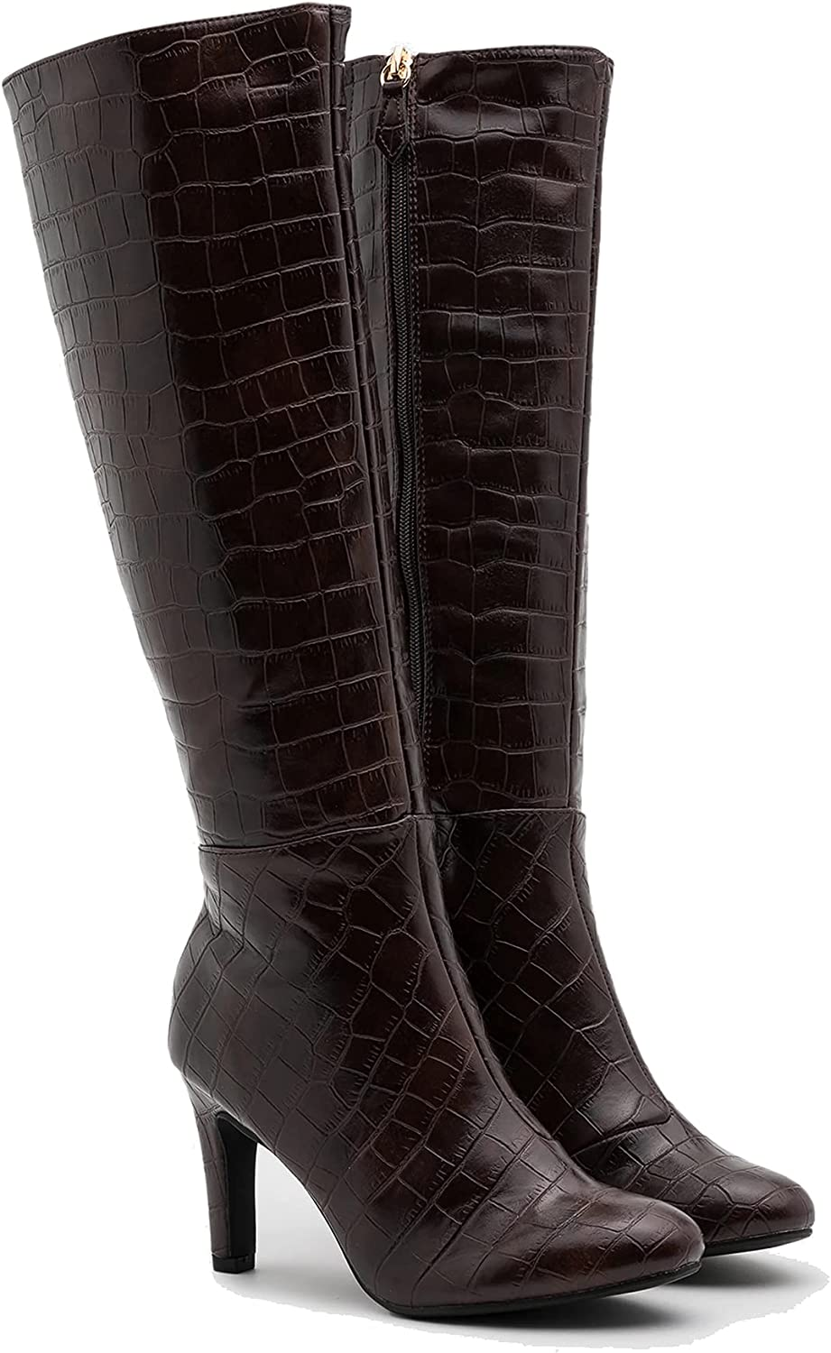 LEHOOR Women Stiletto High Heel Boots Suede Round Toe Knee High Boots with Side Zipper Croc-Effect Matte Leather 3 Inch High Heel Sexy Winter Warm Heeled Boots Size 4-13 M US