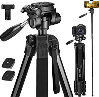 Victiv 72-inch Camera Tripod Aluminum Monopod T72 Max. Height 182 cm - Lightweight and Compact for Travel with 3-way Swive...
