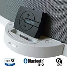 CoolStream Boom 30 Pin Bluetooth Adapter for Bose SoundDock and Wired Headphones with 3D Sound aptX (Black)