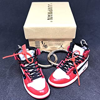 Pair Air Jordan 1 I High Retro Off White Chicago Bulls OG Sneakers Shoes 3D Keychain Figure with Shoe Box