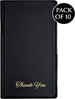 Guest Check Card Holder Presenter with Matte Gold Thank You Imprint Black Vinyl - Pack of 10