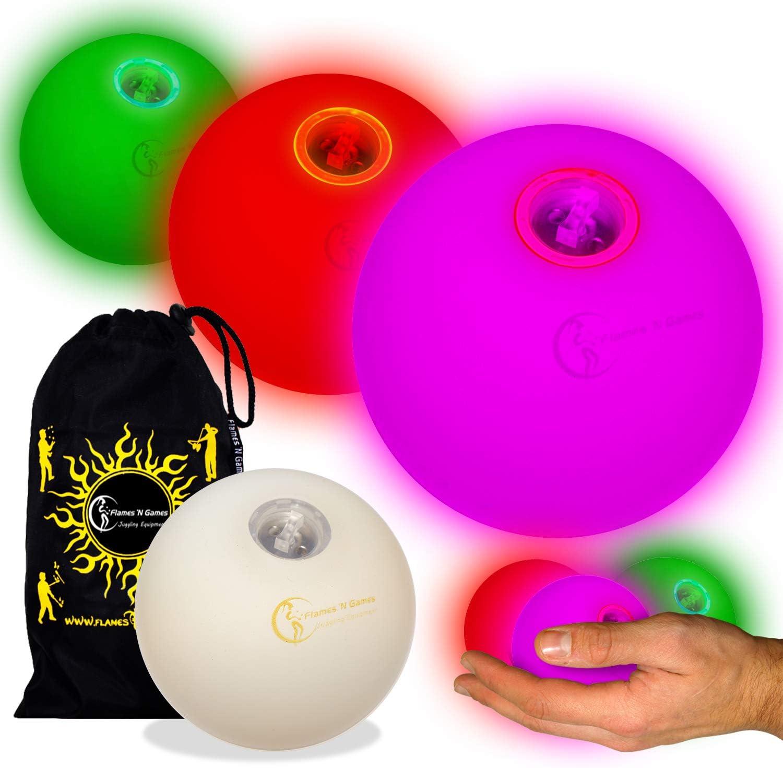 Flames N Games Pro LED Glow Bolas de Malabares Juego de 3 Bolas de Malabares LED ultrabrillantes con bater/ía ultrabrillante con Bolsa de Viaje con cord/ón. Blanco